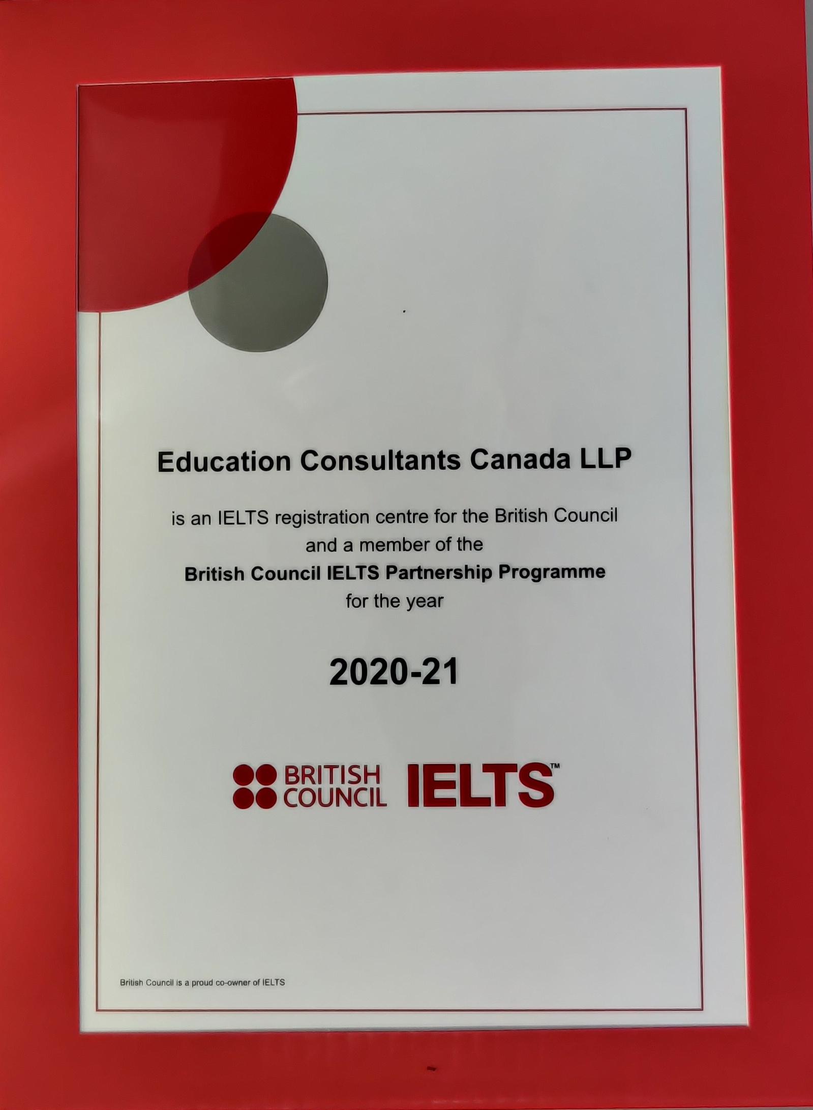 IELTS Partner Certificate