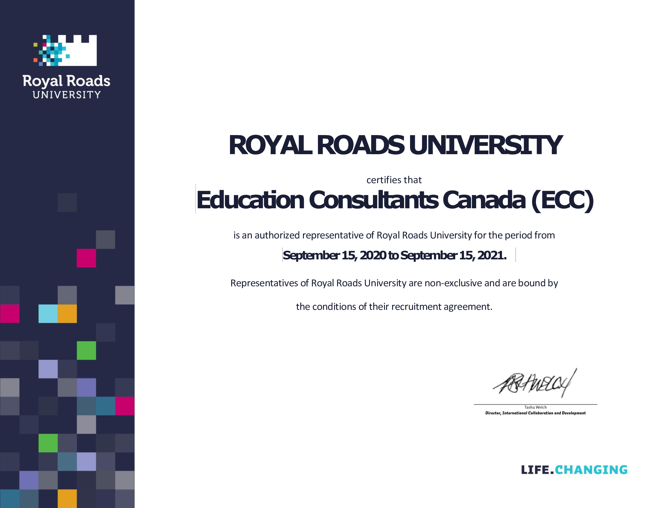 Education Consultants Canada is an Authorized Recruiter of Royal Roads University for International Students